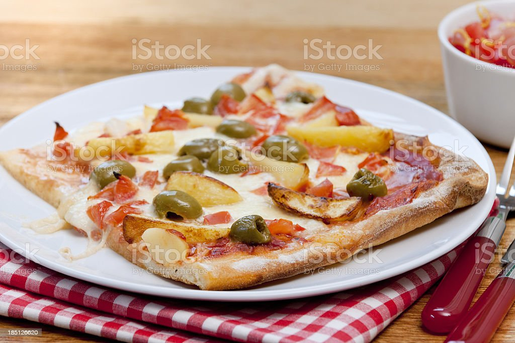 fresh homemade pizza stock photo