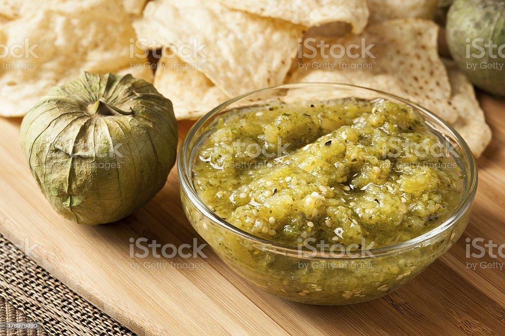 Fresh Homemade Salsa Verde stock photo