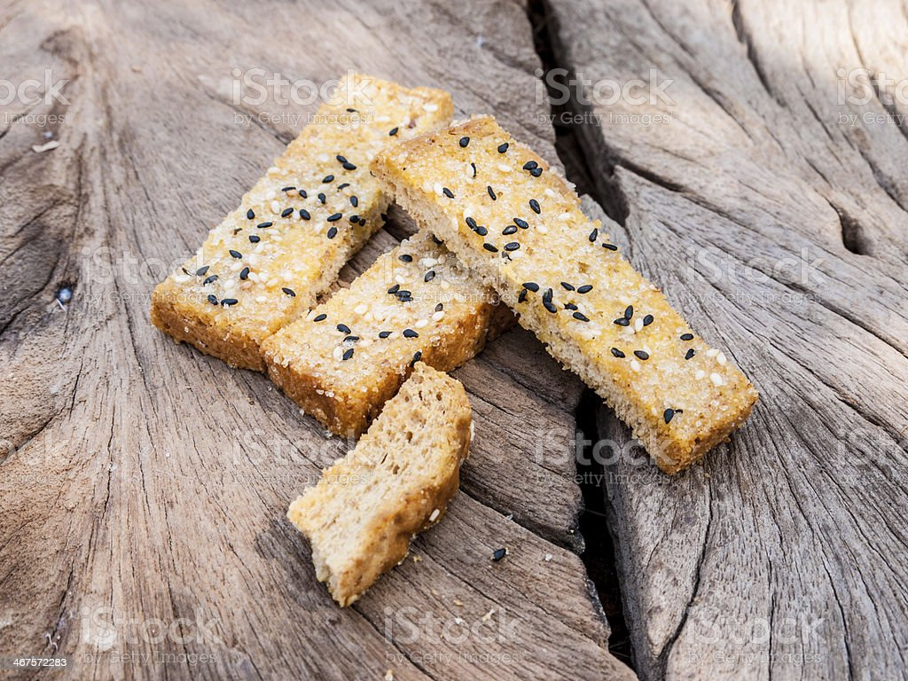 Fresh homemade toasted salt and sesame bread royalty-free stock photo