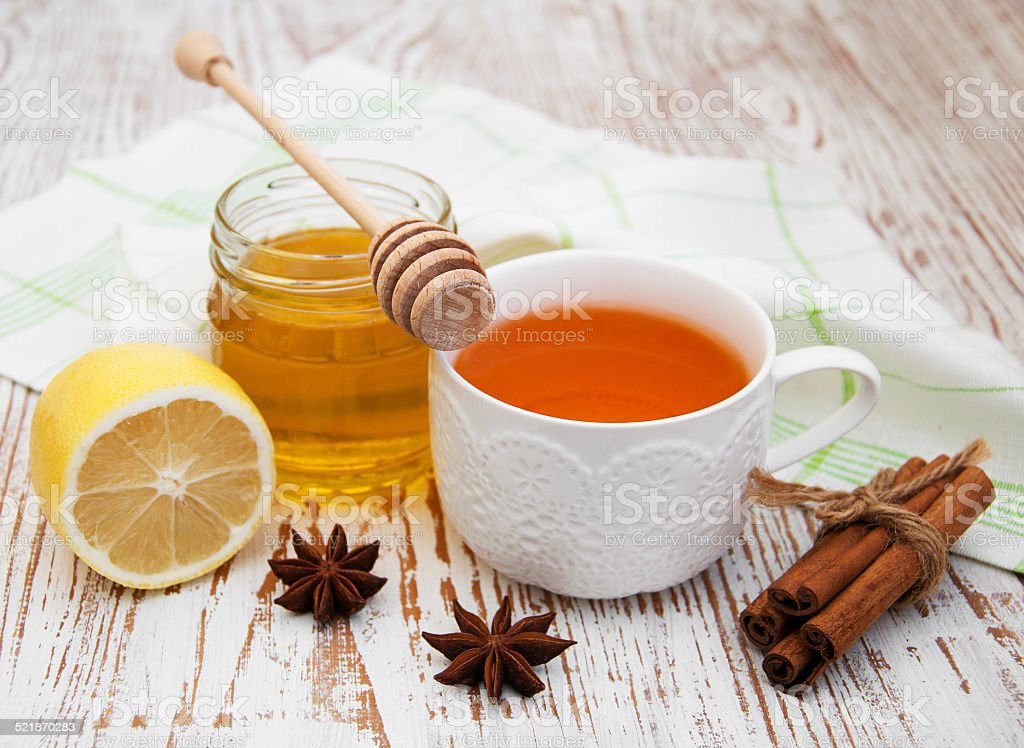 fresh honey and tea stock photo