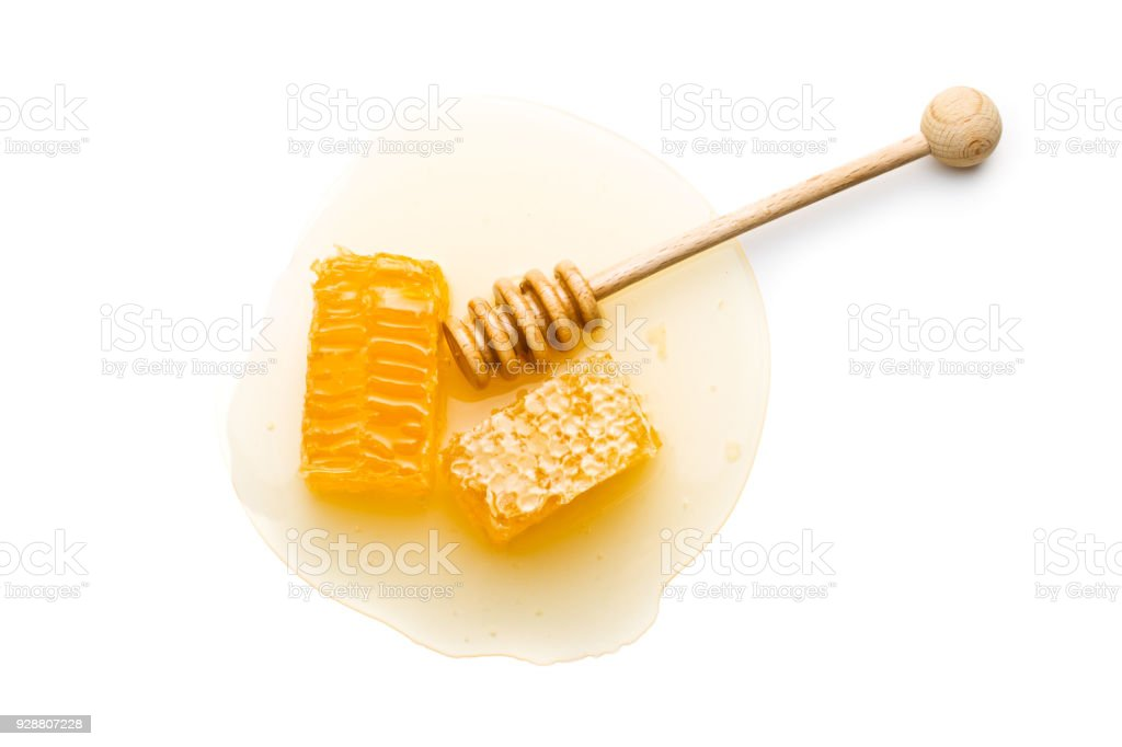 Fresh honey with honeycomb stock photo