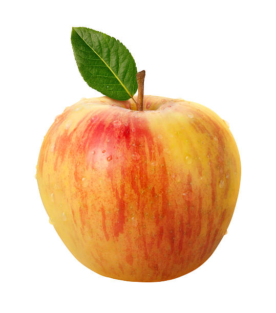 Fresh Honeycrisp Apple and Leaf with clipping path. stock photo
