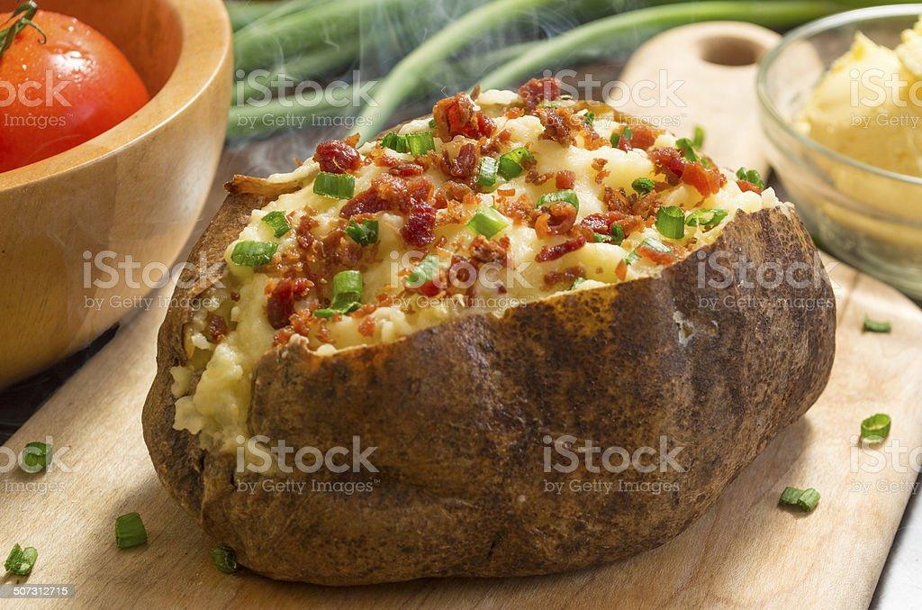 fresh hot baked potato stock photo