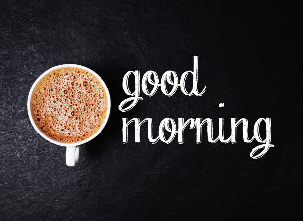 Fresh hot coffee and good morning inscription stock photo
