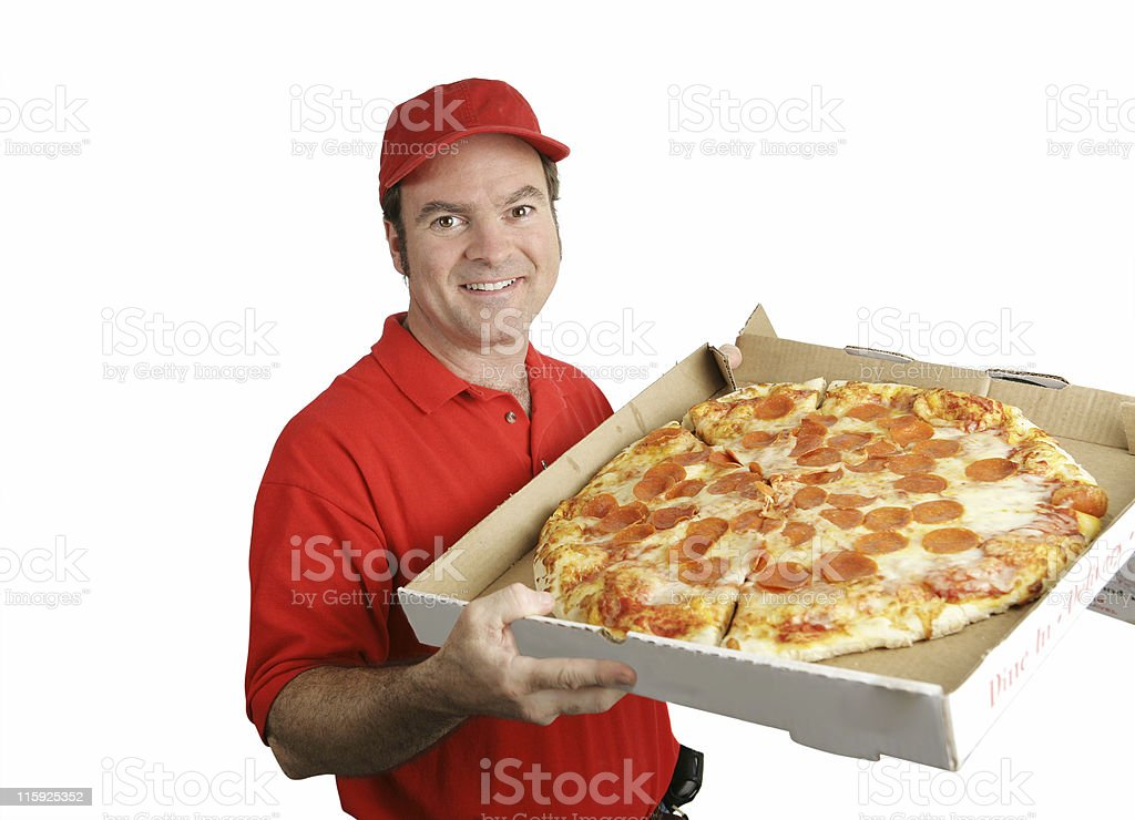 Fresh Hot Pizza Delivered royalty-free stock photo