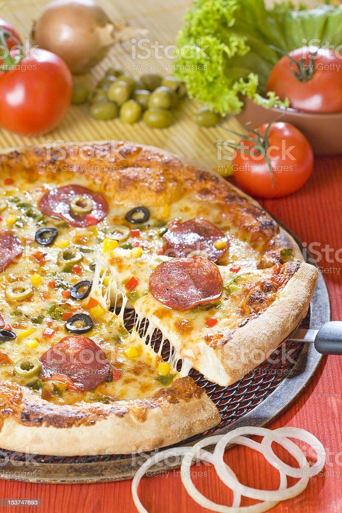 Fresh hot pizza royalty-free stock photo