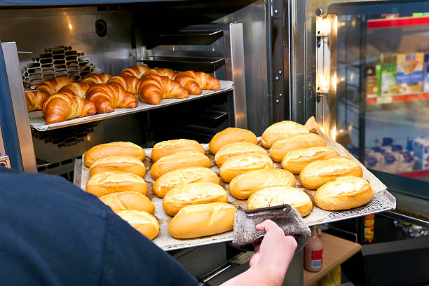 Fresh Hot Rolls and Croissants stock photo