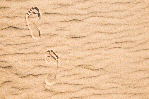 Fresh human footprints on dry sand in sunny summer day. Go forward. Top view. Empty place for text, quote or sayings.
