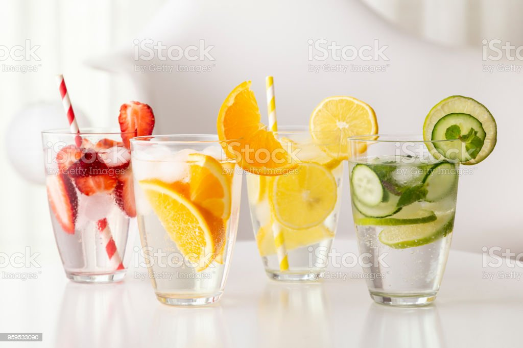 Fresh infused waters stock photo