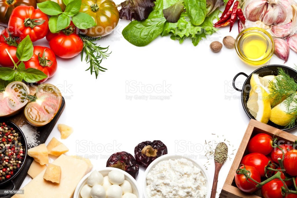 Fresh ingredients for cooking and seasoning frame stock photo