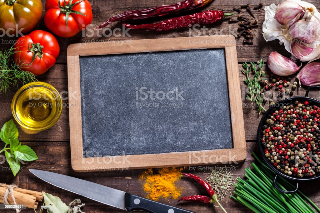Fresh ingredients for cooking and seasoning stock photo