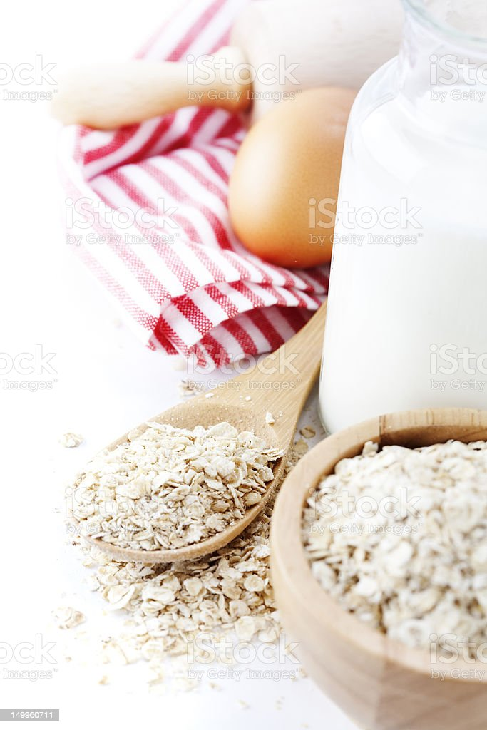 Fresh ingredients for oatmeal cookies royalty-free stock photo