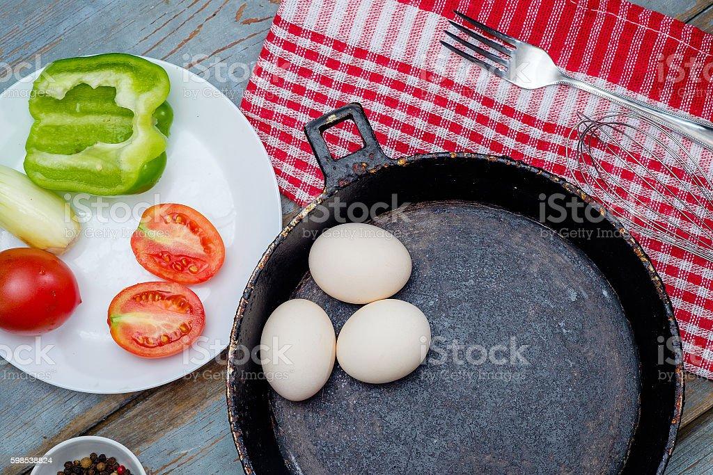 Fresh ingredients for omelet photo libre de droits