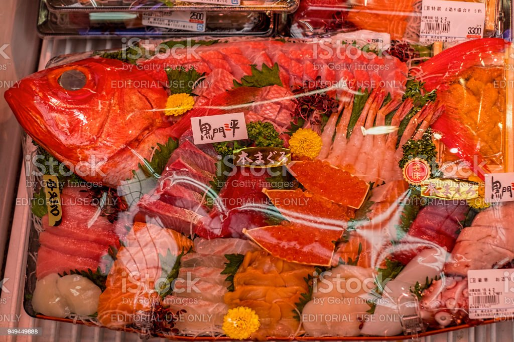 Fresh Japanese Seafood Sushi Ingredients On Display For Sale In