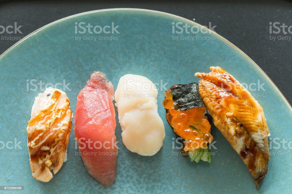 Fresh japanese sushi stock photo