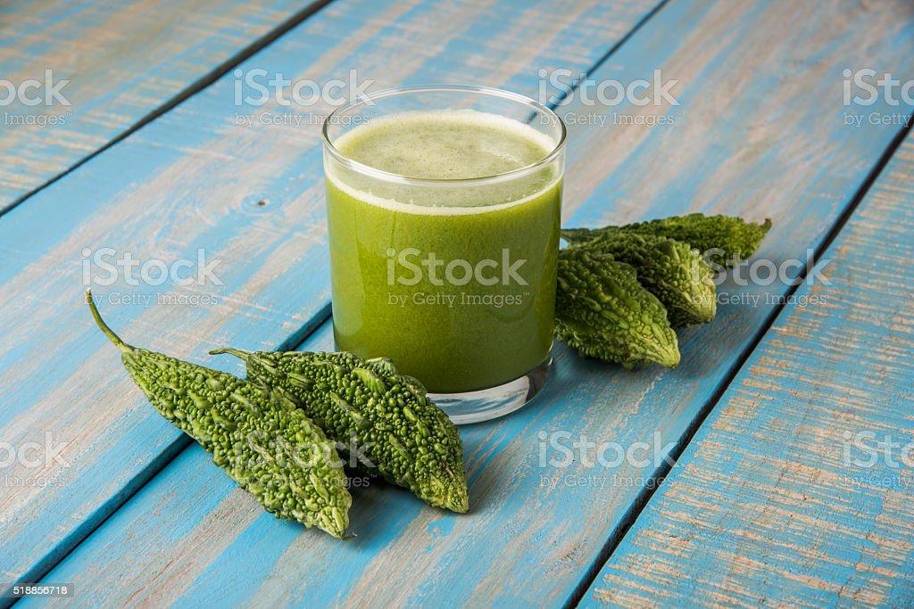 fresh Juice of bitter gourd, Bitter Melon, Bitter cucumber stock photo