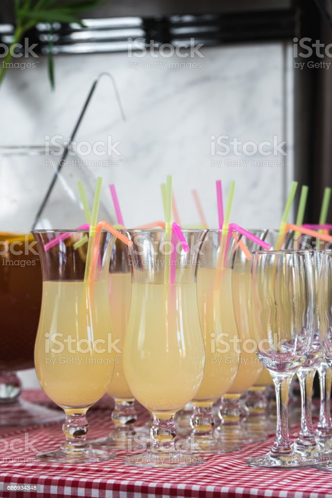 Fresh juice on a table in a restaurant. Healthy drinks stock photo