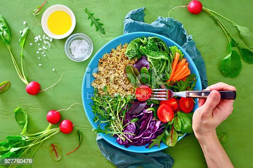istock Fresh juicy and crusty buddha bowl healthy meal with quinoa and green sprouts 927760476
