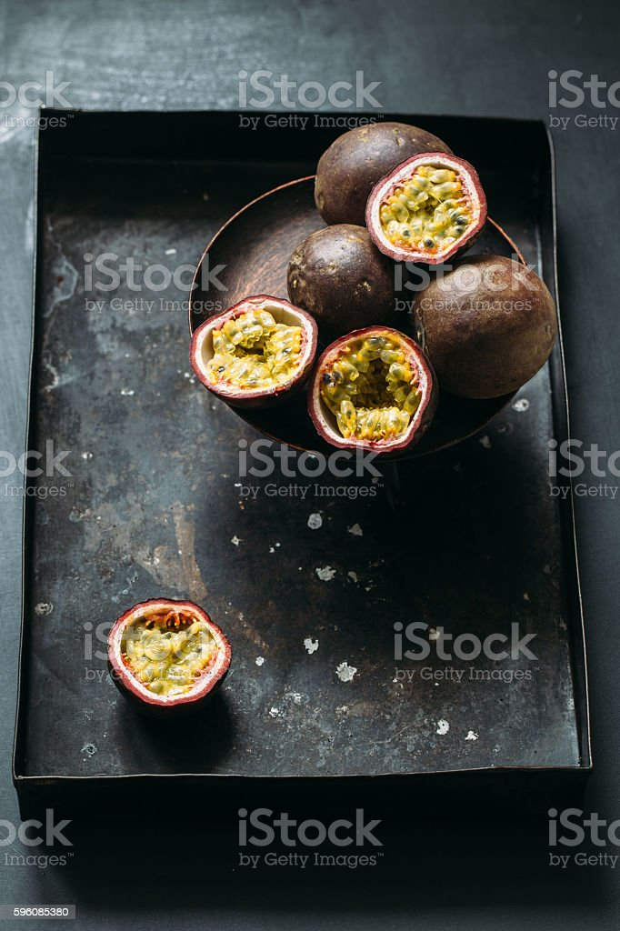 Fresh juicy passion fruits. Tropic fruit concept royalty-free stock photo