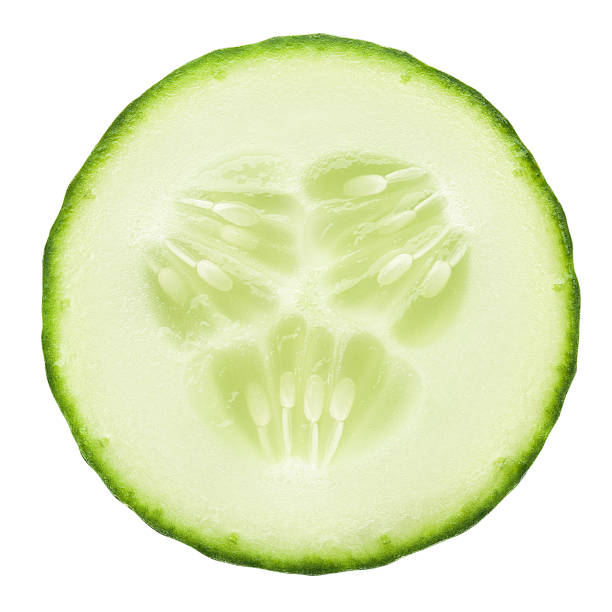 fresh juicy slice cucumber on a white background, isolated, clipping path - cucumber stock photos and pictures