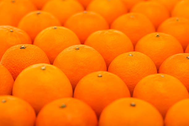 Fresh, juicy tangerines photographed with a small depth of field stock photo