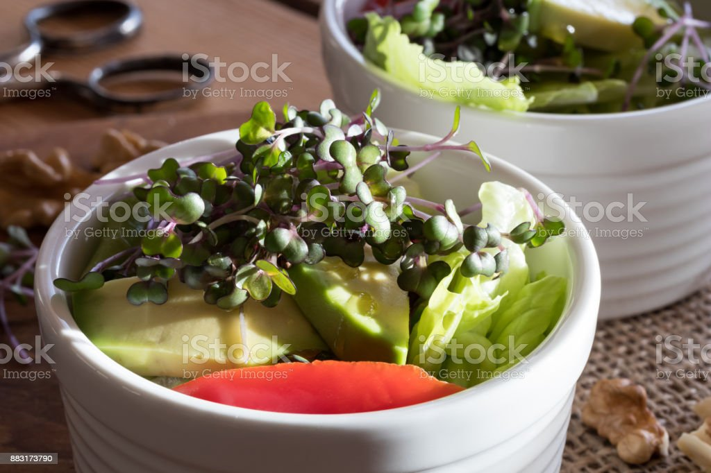 Fresh kale and broccoli microgreens in a vegetable salad stock photo