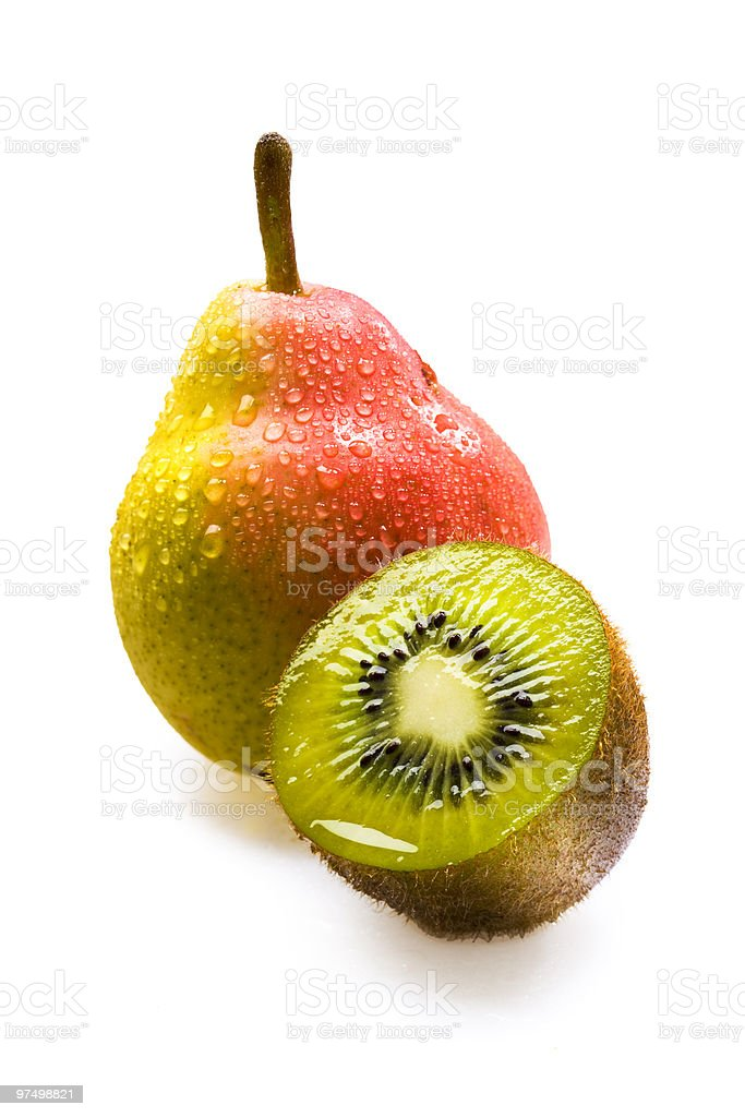 Fresh kiwi and pear royalty-free stock photo