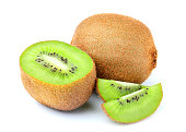 Fresh kiwi fruit  isolated on white background.