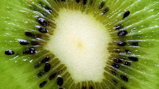Fresh kiwi fruit slices closeup macro