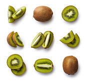 Set of fresh whole and cut kiwi and slices isolated on white background. From top view