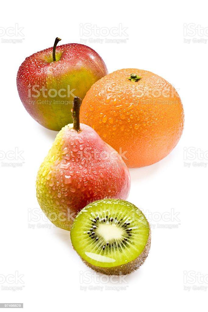 Fresh kiwi, pear and orange royalty-free stock photo
