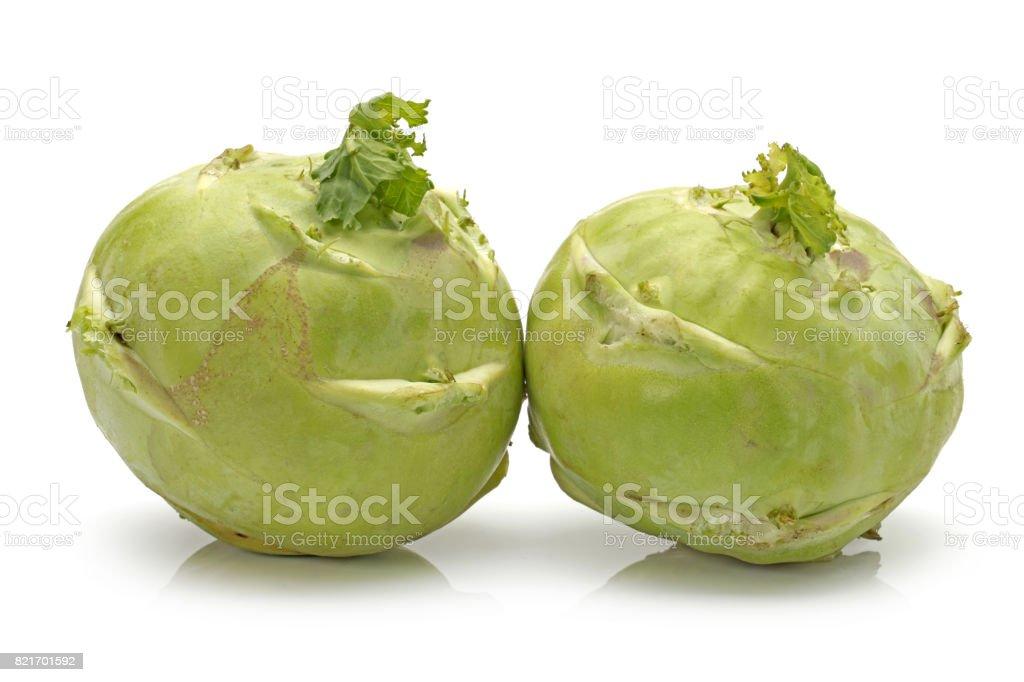 Fresh Kohlrabies on white background stock photo