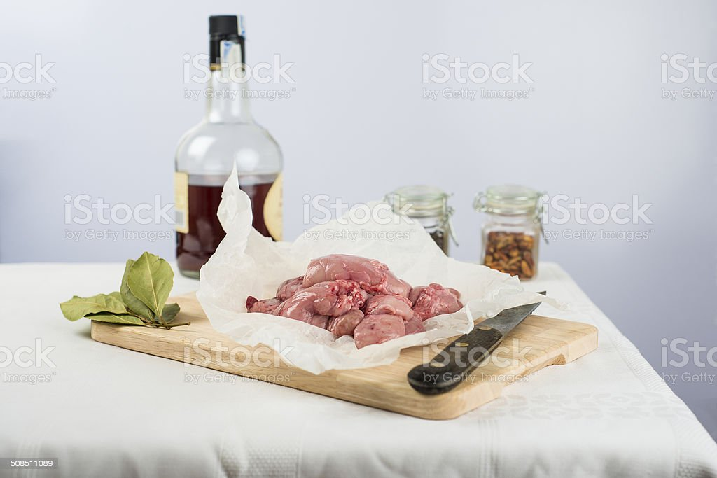 Fresh lamb sweetbreads to be cooked stock photo