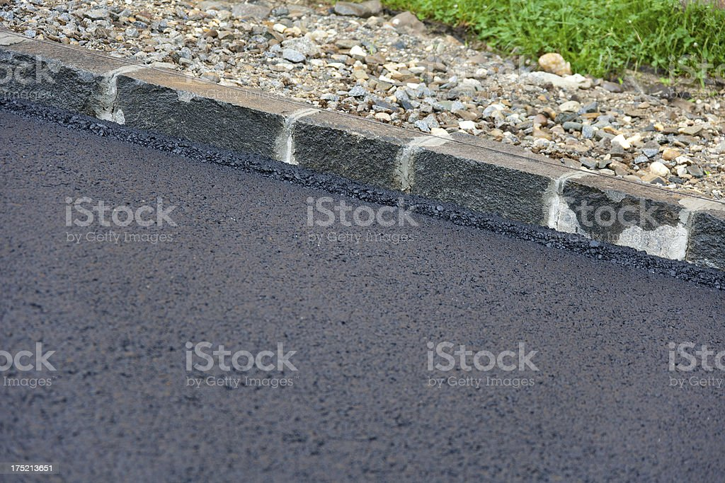 Fresh Layer Of Asphalt With Granite Curbs Stock Photo