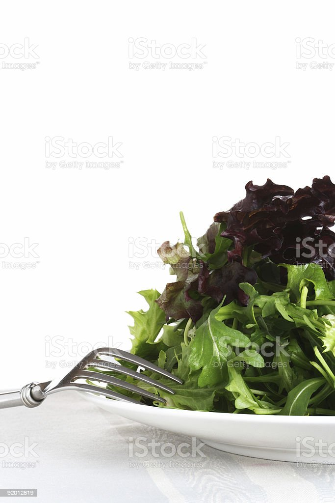 fresh leaf salad with  white plate and fork royalty-free stock photo