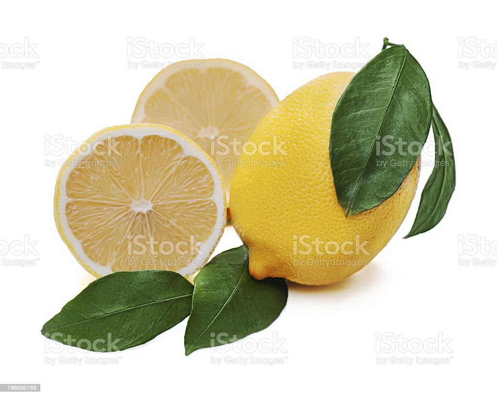 Fresh lemon citrus with cut and green leaves isolated royalty-free stock photo