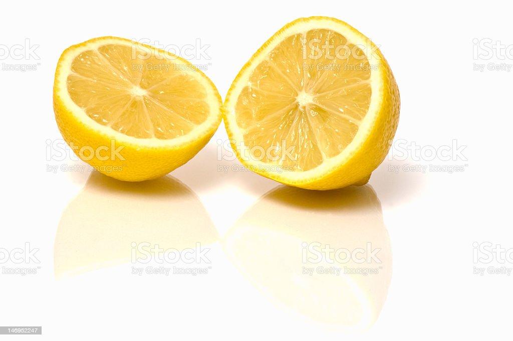 Fresh Lemon cut in half stock photo