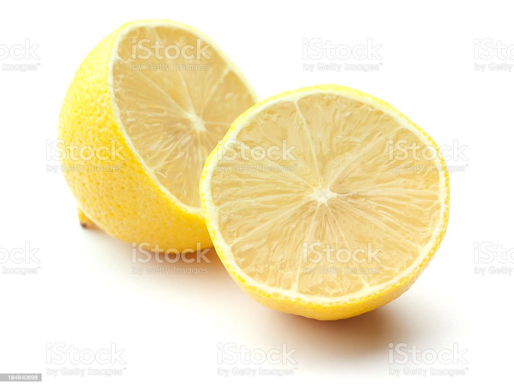 Fresh Lemon Halves Isolated on White royalty-free stock photo