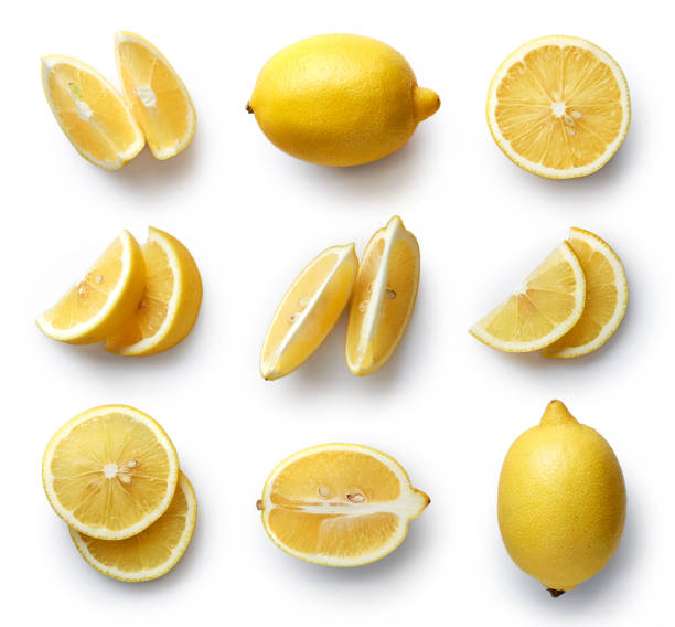 Fresh lemon isolated on white background stock photo