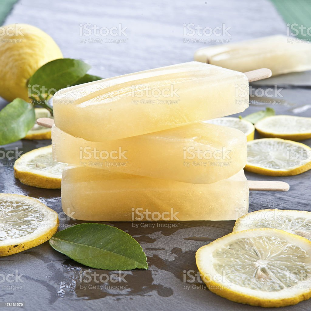 Fresh lemon popsicles stock photo