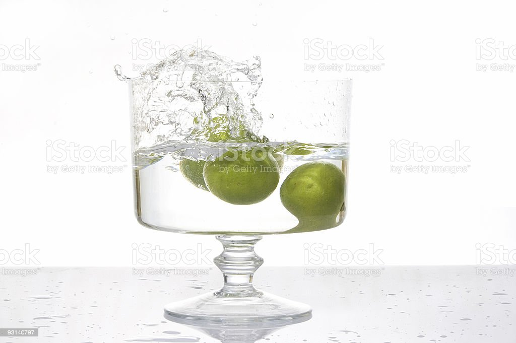 Fresh lemon splash into water royalty-free stock photo