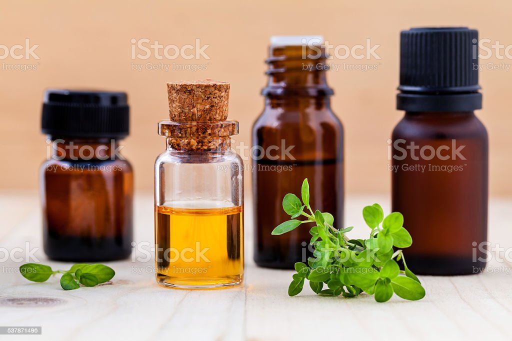 Fresh  lemon thyme  leaves  and essential oil with shallow depth stock photo