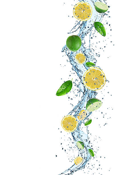 fresh lemon with water splash - cactus lime bildbanksfoton och bilder