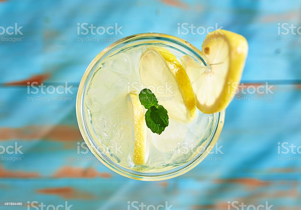 fresh lemonade with mint shot top down stock photo