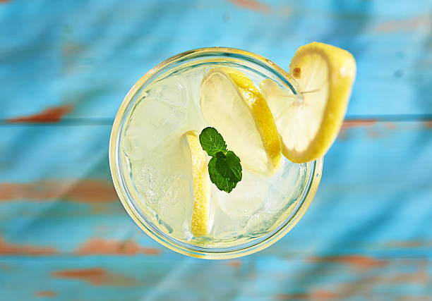 fresh lemonade with mint shot top down fresh lemonade with mint shot top down on rustic table overhead projector stock pictures, royalty-free photos & images
