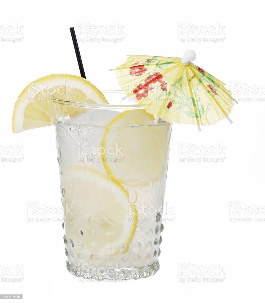 Fresh Lemonade With Umbrella Isolated royalty-free stock photo