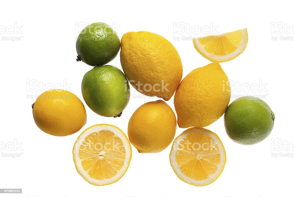 fresh lemons and limes on a white background royalty free stockfoto