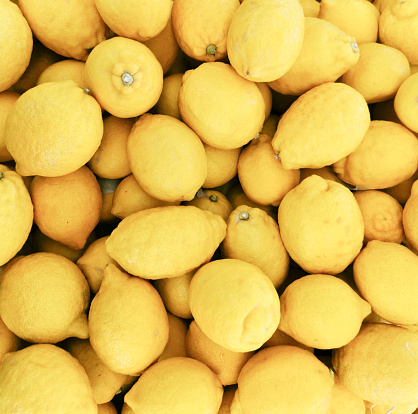 Fresh lemons at a market