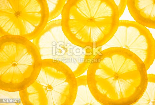 Fresh lemon slices.Yellow food background.