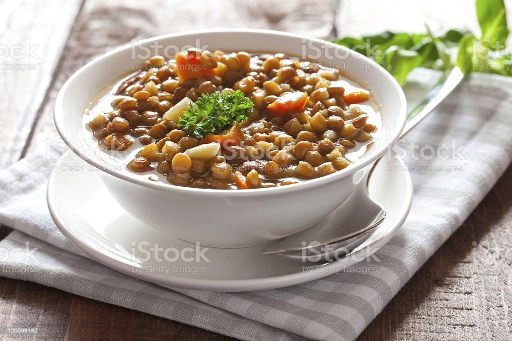 fresh lentil stew stock photo